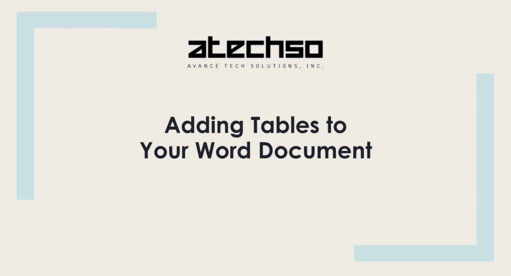 Adding Tables to Your Word Document – Microsoft Word