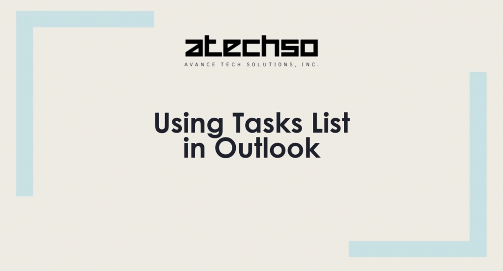 Creating Tasks List – Microsoft Outlook