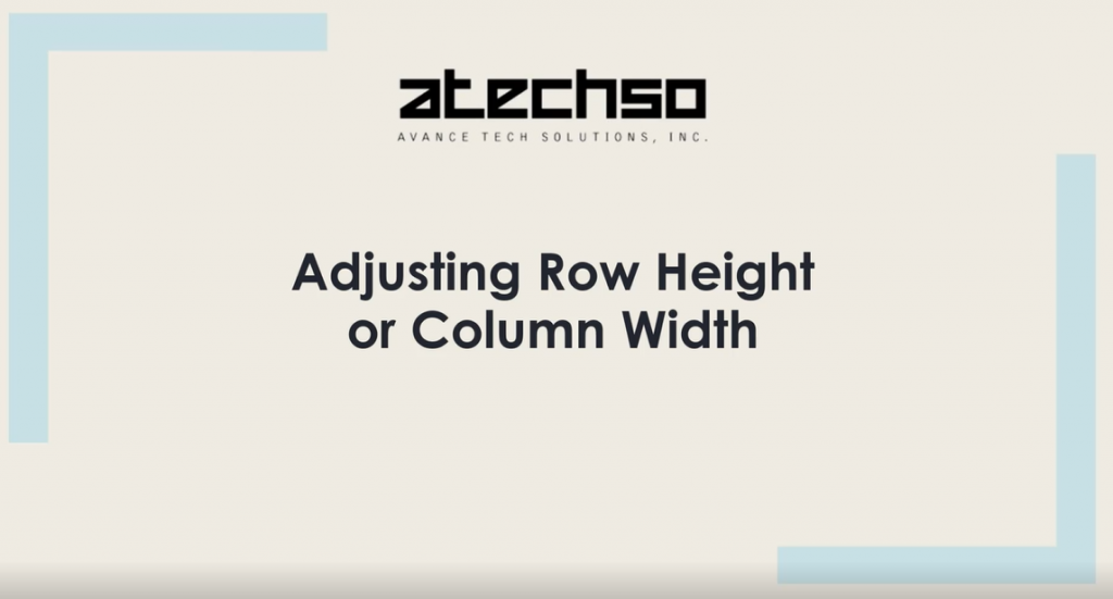 Adjusting Row Height or Column Width