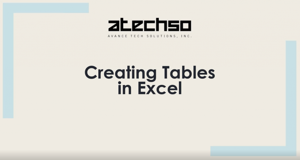 Excel- Creating Tables