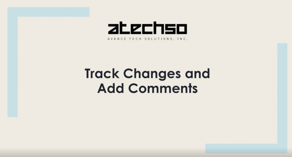 Word – Track Changes and Add Comments
